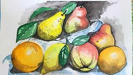 watercolour painting - fruit bowl