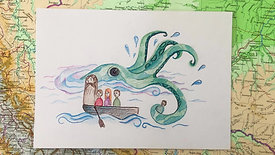 Drawing the Giant Squid from Harry Potter in Colour Pencil