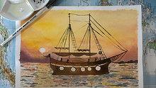 watercolour painting - sailing boat