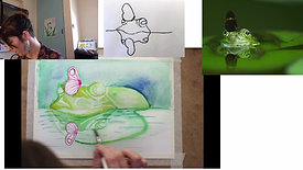 Painting a frog in watercolour
