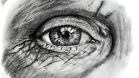 charcoal drawing of an eye