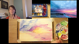 Painting beach at sunset in watercolours