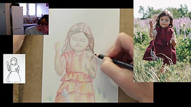 Drawing a child in colour pencil