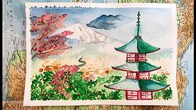 Watercolour Painting Japanese Landscape
