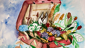 painting a suitcase full of flowers