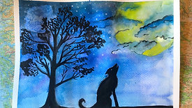 Mindful Watercolour Painting - wolf - part 2