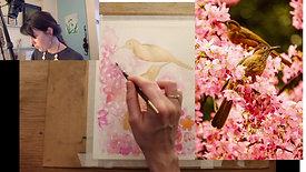 birds in blossom tree in watercolours