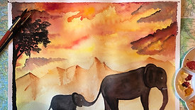 Mindful watercolour painting - elephants