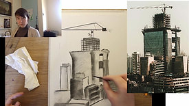 drawing a city scape in charcoal