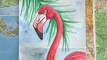Watercolour Painting - Flamingo