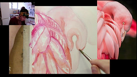 flamingo painting in watercolour