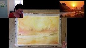 sunset landscape wet on wet