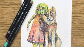pencil drawing child with dog