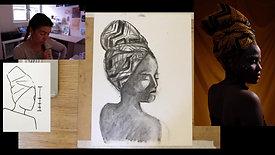 Portrait women charcoal