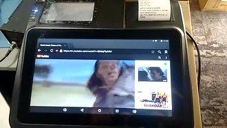 NXI FABPOS MEGA 10 mini POS system with Printer & Scanner beside Touchscreen command