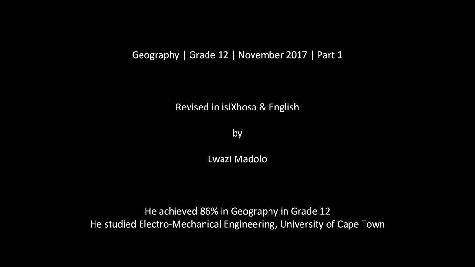 Geography | Grade 12 | November 2017 | Part 1