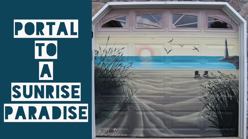 A door to Paradise Garage door Mural painting_1