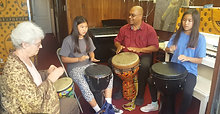 Drum circle Katara Jennifer & Grandma 6-2018
