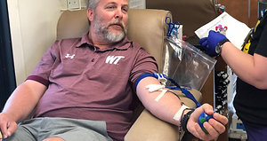 West Texas A&M football coaches and players donated blood Friday to help the Coffee Memorial Blood Center