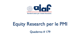 Equity Research per le PMI - Q. #179