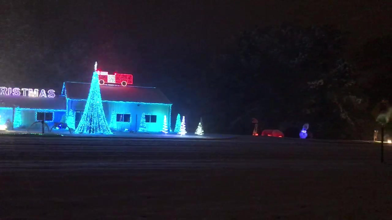 Contentnea Fire Department Christmas Light Show in the Snow