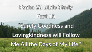 """Psalm 23 Bible Study: Part 15 """"Surely Goodness and Lovingkindness Shall Follow Me All the Days of My Life"""""""