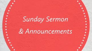 November 8th Sunday Sermon
