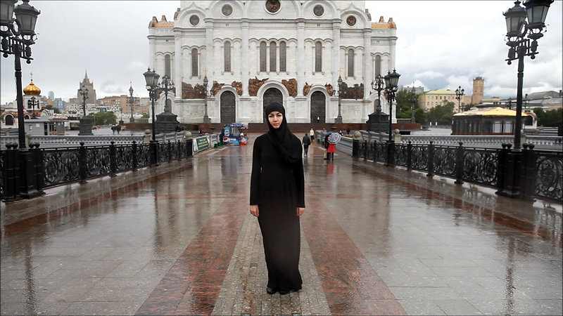 Hijab Walking Around Moscow