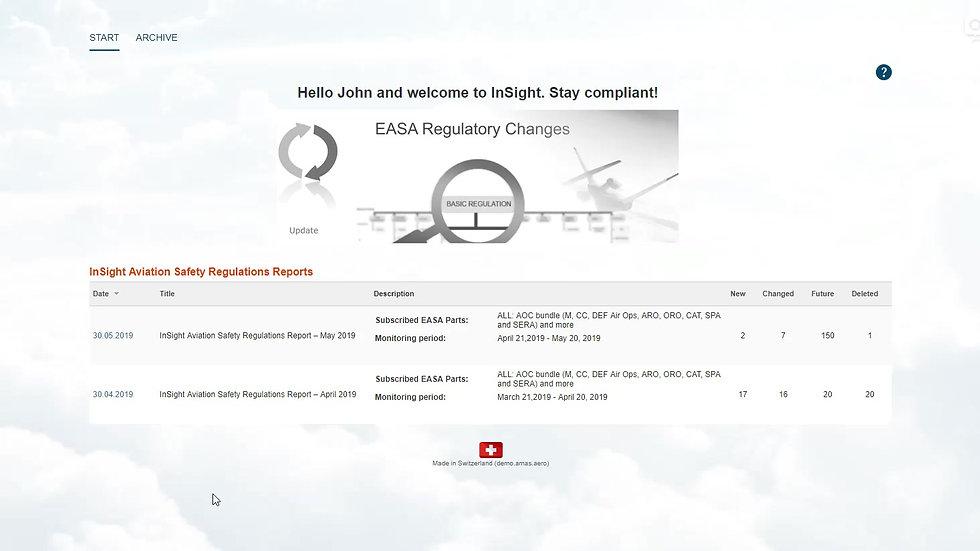 AeroEx Demo InSight Aviation Safety Regulations Reporting tool