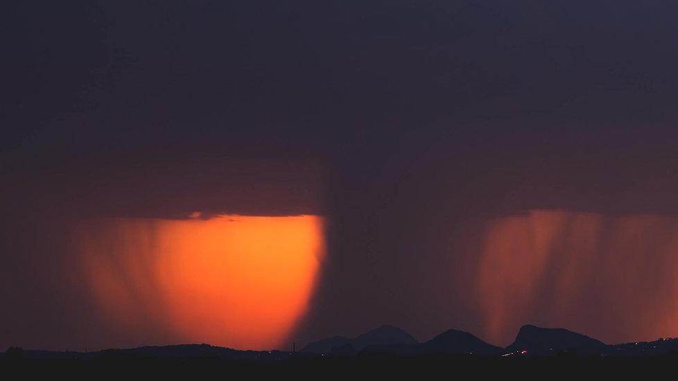 Orange and red storm skies