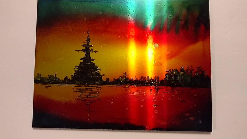 Battleship- Alcohol Ink painting on aluminum