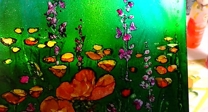 Video- Poppies- Alcohol Ink on Aluminum