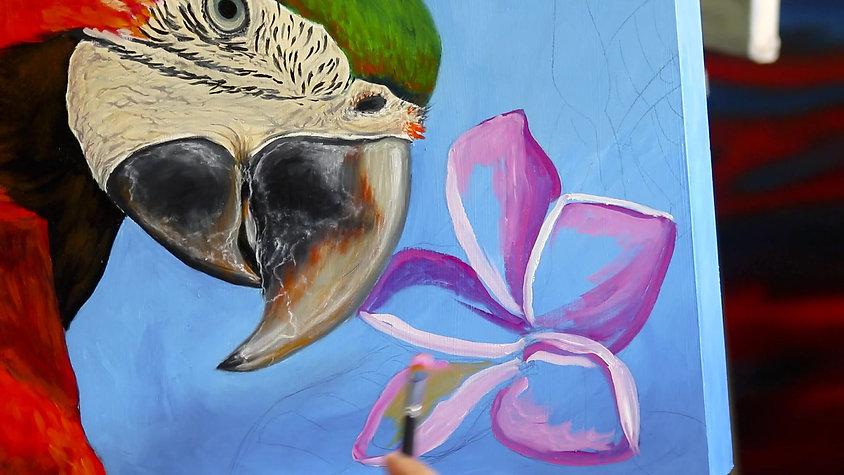 Painting frangipani flower