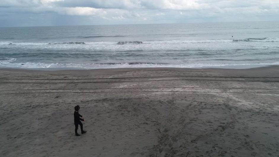 砂浜を歩く男