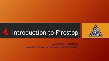 DIV III Certified Firestop Inspector Prep Course