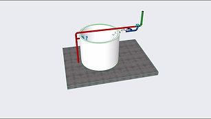 Instalação equipamentos em cisterna superior.