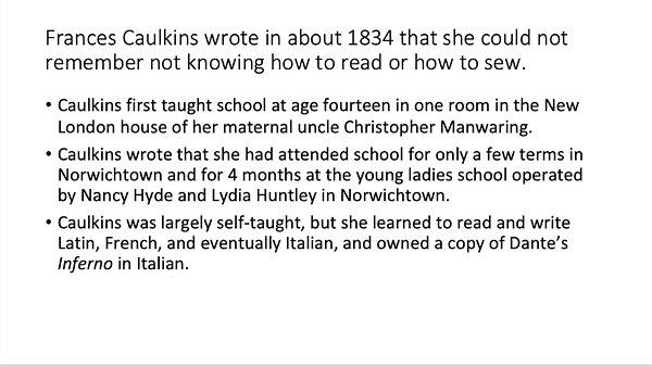 Frances Manwaring Caulkins Zoom Program