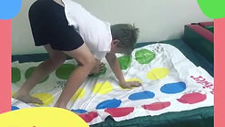 This client is utilising his balancing skills to hold a Twister pose on the trampoline.
