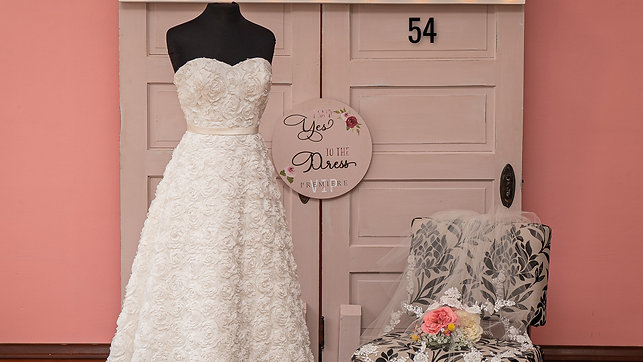 Dress 54 Strapless Rosette A-Line Bridal Gown