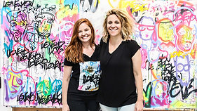 Amber Goldhammer and Davia King mural ShockBoxx Project