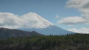 西湖から望む富士山   The view of Mt. Fuji from Saiko Lake.