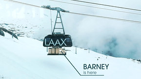 Barney is on the way to mountain Laax