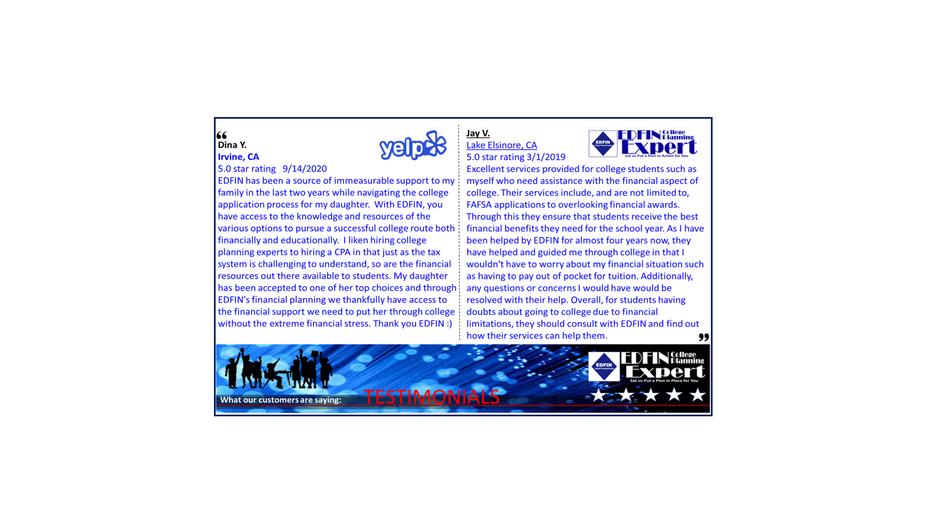 EDFIN Client Testimonials