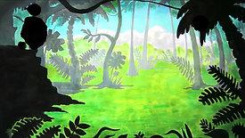 Jungle - Paper cuts and watercolurs in background