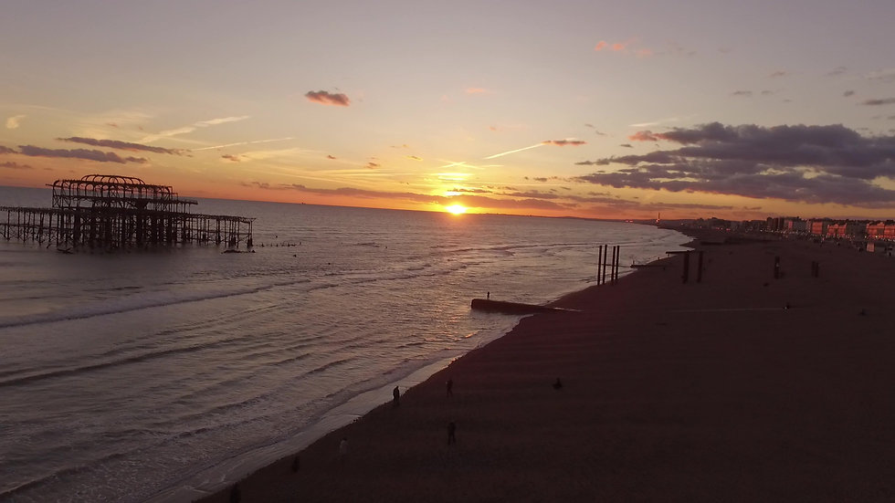 Drone video view of The Brighton Pier, East Sussex