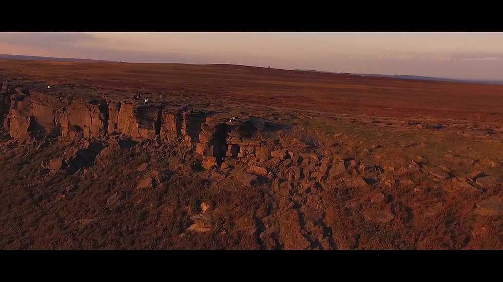 Drone Video view of Stanage Edge at the Peak District