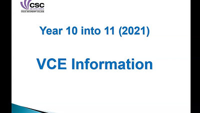 YEAR 10 into YEAR 11 VCE Information