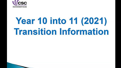 YEAR 10 into YEAR 11 General Information
