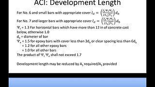 Civil PE Exam Structural Depth Lecture Example: ACI Development Length