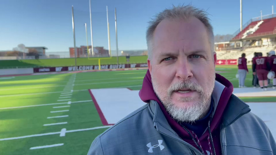 West Texas A&M football coach Hunter Hughes talks about his team at work during spring football.